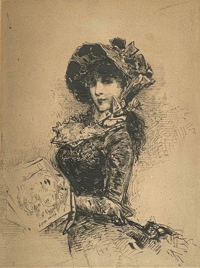 Luigi LOIR (1845-1916) Elégante Encre signée en bas à gauche 16,5 x 12,5 cm (à vue)...
