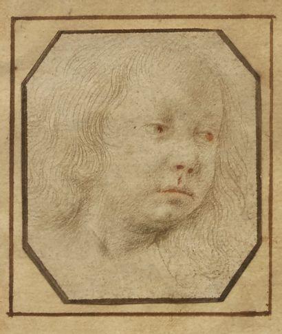 ECOLE FLAMANDE Deux dessins sur montage ancien du XVIIIe contrecollés sur une feuille...