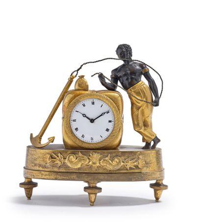 Pendule «au matelot» en bronze doré et bronze...