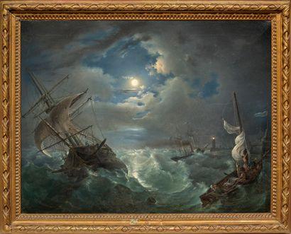 Jean François HUE (1751-1823) entourage de Navire dans une tempête Toile 65,5 x 85...