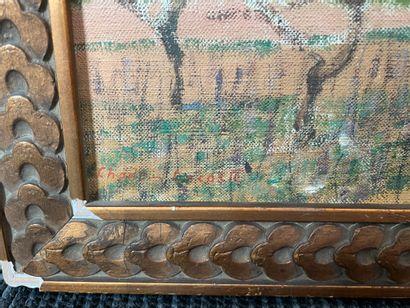 Charles LACOSTE (1870-1959) Avril Huile sur toile marouflée sur carton, signée en...