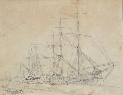 Johan-Barthold JONGKIND (1819-1891) Voilier Crayon 20 x 26 cm (à vue)
