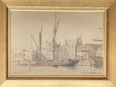 ALBERT LEBOURG (1849-1928) Voiliers à Rouen Plume et encre noire sur papier, signée...