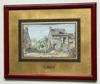 Ludovic PIETTE (1826-1877) Coin de village de Montfoucault, 1878 Gouache, signée...