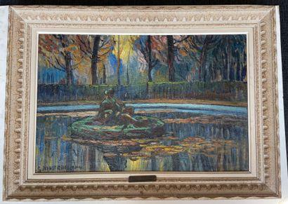 Louis Mathieu VERDILHAN (1875-1928) Parc du Luxembourg à Paris Huile sur toile, signée...