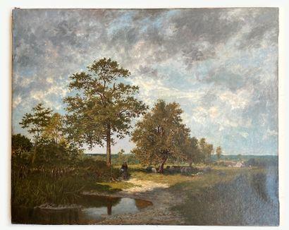 Ernest GUILLEMER (1839-1913) Bergère en bord de rivière Huile sur toile, signée en...