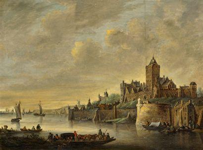Ecole HOLLANDAISE, du XIXème siècle d'après Jan van GOYEN Vue de Nimègue et Vue d'une...