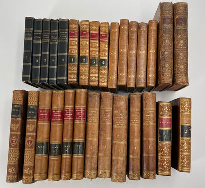 Ensemble de livre reliés XIXIe dont Voltaire,...