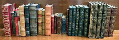 Ensemble de livres XIXème reliés dont Boileau,...