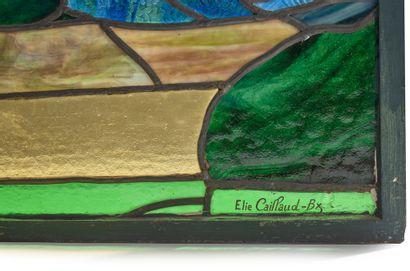 Elie CAILLAUD (actif vers 1925-1960) Rare paravent à armature en métal enserrant...