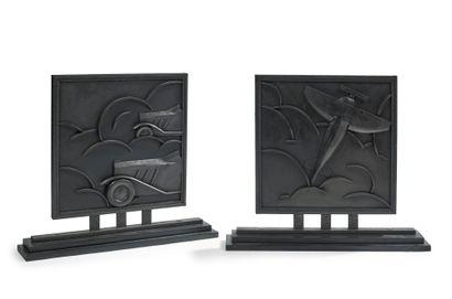 Michel ZADOUNAÏSKY (1903-1983) Paire de panneaux bi-faces montés sur socle en fer...