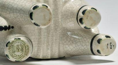 PRIMAVERA LONGWY France & Claude LEVY (1895-1942) Elephant caparisoned White cracked...