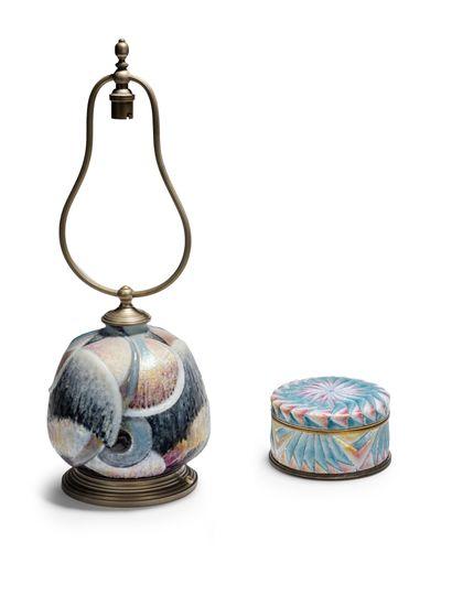 Camille FAURÉ (1874-1956) Vase «Orsay» monté en lampe en laiton à décor géométrique...
