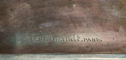 Paul Emile BRANDT (1887-1952) Boîte à cigarettes en métal argenté à décor géométrique...