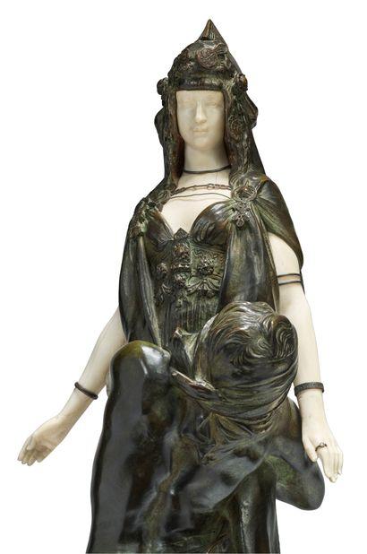 Théodore RIVIERE (1857-1912) * Salammbô chez Mathô Sculpture chryséléphantine en...