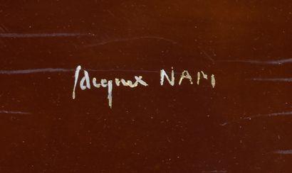 JACQUES LEHMAN dit NAM (1881-1974) Les colombes de la paix Panneau en bois laqué...