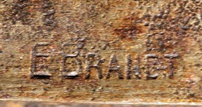 Edgar BRANDT (1880 1960) Lustre à quatre bras de lumière en fer forgé martelé à décor...