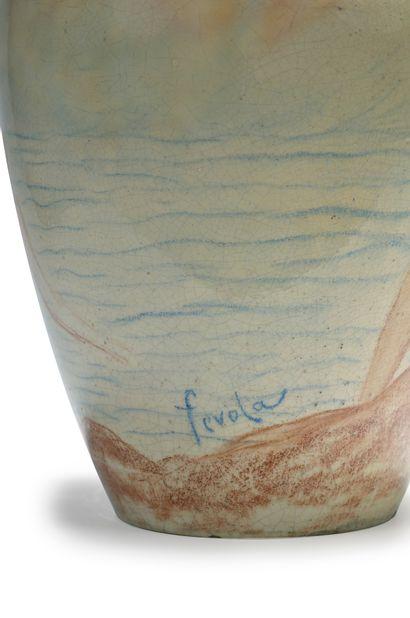 Félix Pascal Fevola (1882-1953) Vase balustre en céramique émaillée craquelée à décor...