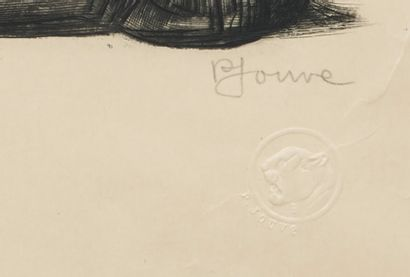Paul JOUVE (1878-1973) Black Panther Original etching on old Japan paper Signed lower...