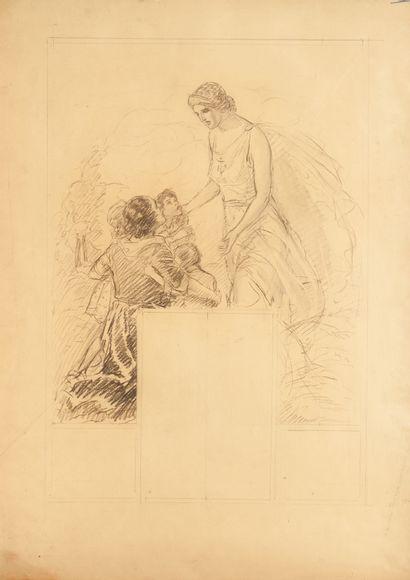 Projet d'affiche pour une assurance 1930. Dessin préparatoire au fusain, non signé,...