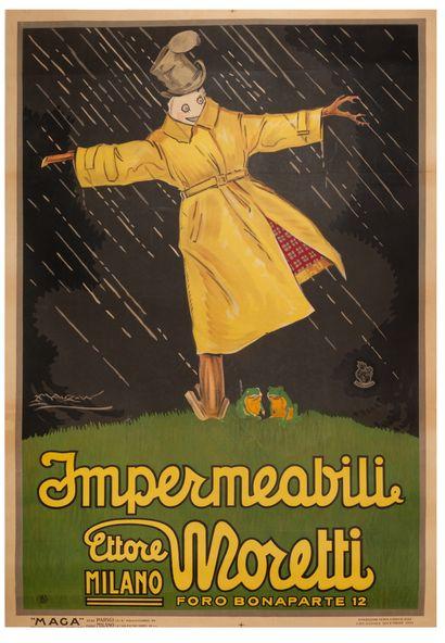 Moretti Impermeabili Milano 1921. Affiche...