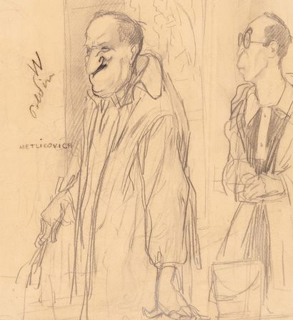 Caricature of Metlicovich and Mauzan Grease pencil drawing on paper. Annotated Metlicovich...