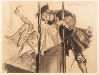 """Le Brigand Cartouche Roi des Coeurs Deux fusains. """"Il avait trempé un mouchoir de..."""