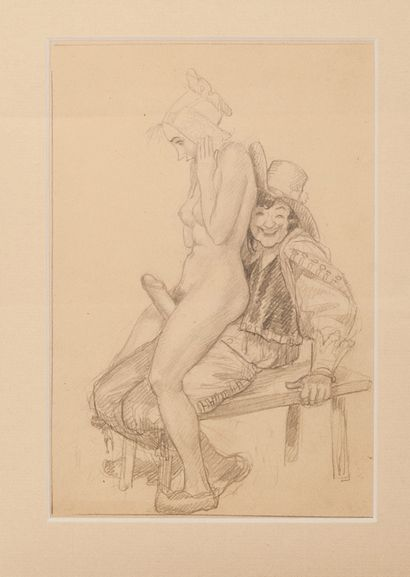 L'Enfer Couple sur un banc Circa 1946. Dessin...