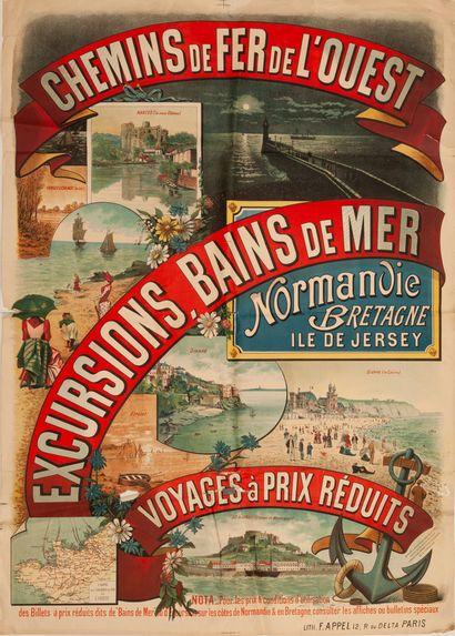 NERME E. Chemins de Fer de l'Ouest. Excursions, Bains de Mer. Normandie. Bretagne....