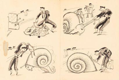 Corrida à l'escargot Paris 1935. Dessin à...