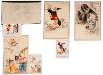 Cartes postales Fables de La Fontaine (1ère...