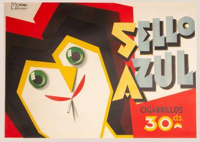 """Sello Azul Buenos Aires. Affiche lithographique signée """"Mozan"""" dans la planche...."""