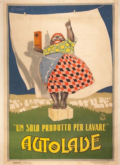 Autolave Italie 1921. Affiche lithographique....