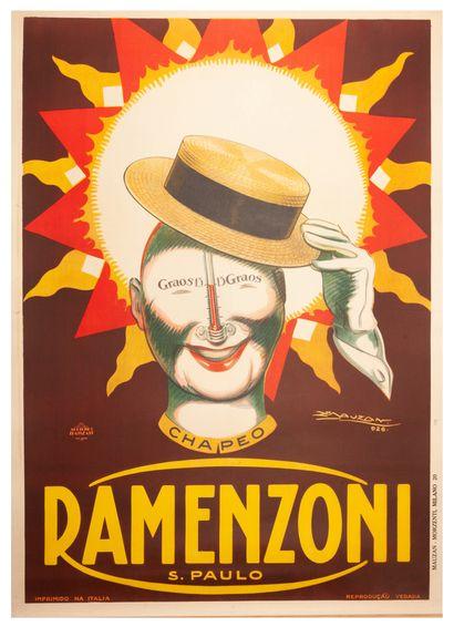 Ramenzoni Chapeo - S. Paulo Milano 1926. Lithographic poster. Mauzan Morzenti Milano....