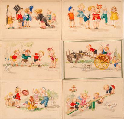 Cartes postales Jeux d'enfants. 6 maquettes...