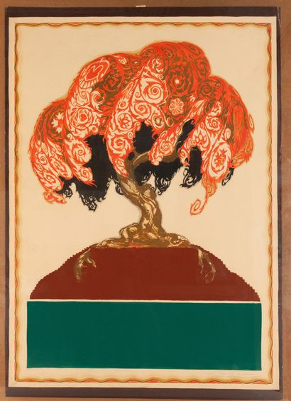 Project for the Second Mostra Monza Italy. 1925. Gouache model, signed, bears the...