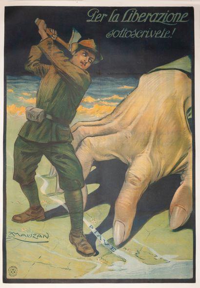 Per la Liberazione Sottoscrivete ! Milan 1917. Affiche lithographique. G. Ricordi...