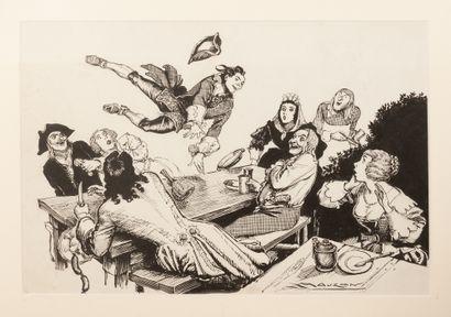"""Le Brigand Cartouche Roi des Coeurs """"Il sauta par-dessus la table et les convives""""...."""