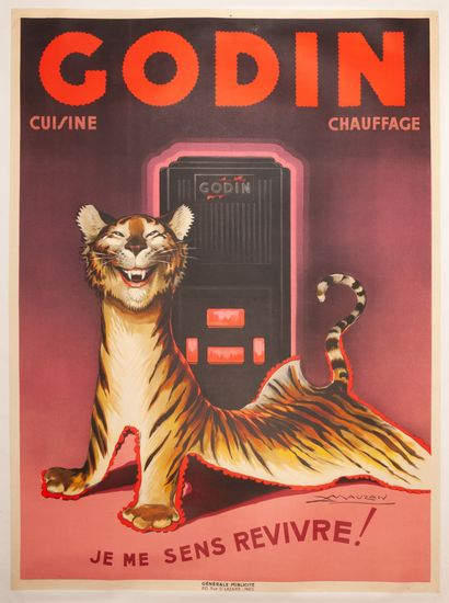 Godin Cuisine - chauffage 1939. Affiche lithographique....