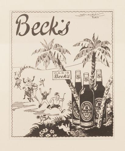 Beck's Oasis Beck's Circa 1939. Projet au crayon et à l'encre de chine non signé...