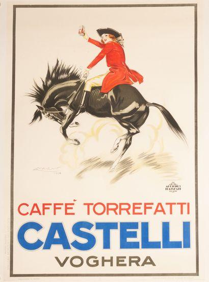 Castelli Caffe Torrefatti - Voghera Milano 1924. Affiche lithographique. Nuove Edizioni...