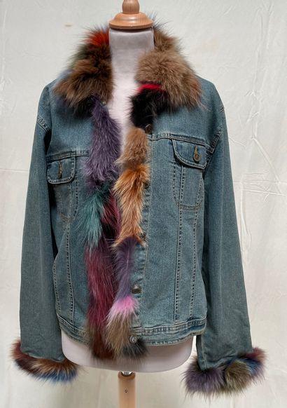 Veste en jean, garnie de fourrure multicolore,...