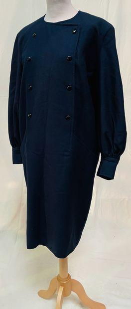 PIERRE CARDIN CRÉATION  Robe en lainage bleu...