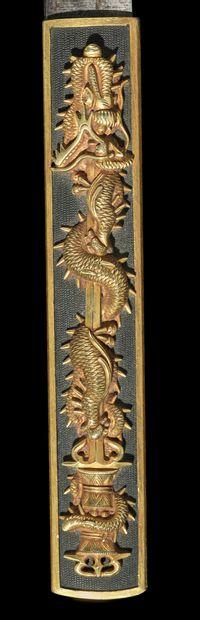 Shinto wakizashi Epoque EDO (1603 - 1868) Signé (mei) : Kunishige Lame (sugata)...