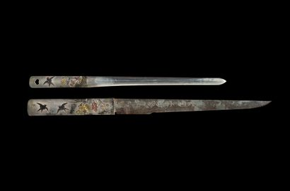 Shinto wakizashi Milieu Epoque EDO (1603 - 1868) Signé (mei) : Kunisuke Lame (sugata)...