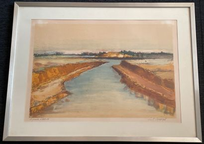 Louis LAMARQUE  Un canal  Lithographie, signée...