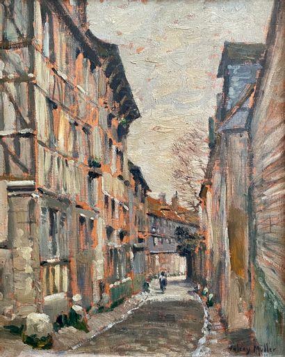 Valery MÜLLER (1859-1916)  Rue passante,...