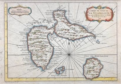 Carte de l'Isle de la Guadeloupe  24 x 34,5...