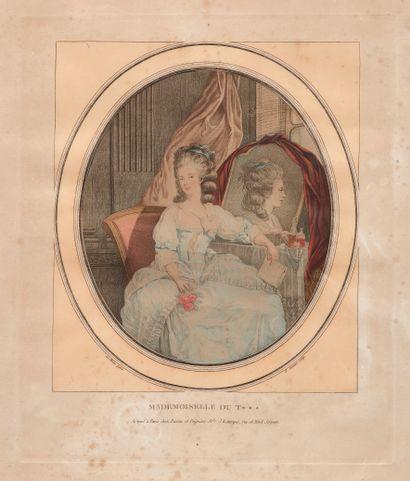 Estampe représentant Mademoiselle Duthé,...