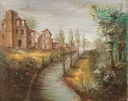 Ecole XXème siècle Vue sur les ruines Huile...
